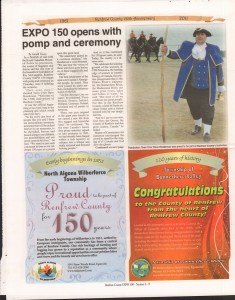 A Journey Through Time - Past, Present and Future. Published by The Eganville Leader, celebrating the 150th anniversary of Renfrew County. Page 3