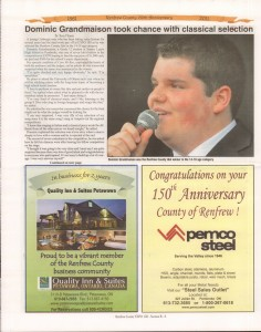A Journey Through Time - Past, Present and Future. Published by The Eganville Leader, celebrating the 150th anniversary of Renfrew County. Page 33