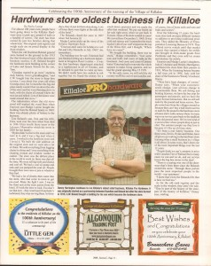 Killaloe Today, published in August of 2008 to commemorate the Town's 100th Birthday. Page 21