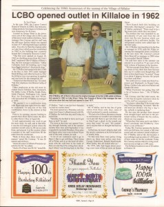 Killaloe Today, published in August of 2008 to commemorate the Town's 100th Birthday. Page 22