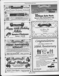 A trip down memory lane, produced by the Eganville Leader to commemorate Killaloe's centennial, in August 2008. Page 11