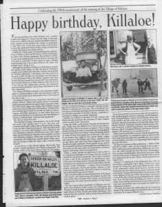 A trip down memory lane, produced by the Eganville Leader to commemorate Killaloe's centennial, in August 2008. Page 3