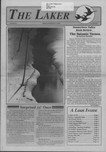 The Laker Issue 39 From, Friday, March 21, 1989.