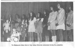 Graduation ceremonies at Madawaska Valley District High School 1970's. Betty Mullin Collection.