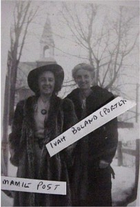 Photo of Mamie Post and Ivah Boland (Porter). Killaloe Millennium Museum Exhibit.