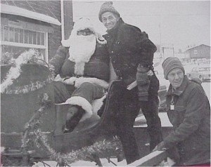 Santa is joined by Gary Hagarty, centre, and his brother Gerald, two of Killaloe's favourite citizens.