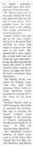 This story about the Beresford Hotel was written by Corinne Higgins and published in Barry's Bay This Week April 1st, 1987. This is part 7 of 9. Betty Mullin Collection.