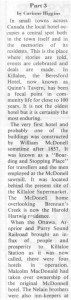 This story about the Beresford Hotel was written by Corinne Higgins and published in Barry's Bay This Week April 1st, 1987. This is part 1 of 9. Betty Mullin Collection.