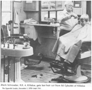 Story and photos about the retirement of local barber Ed Cybulski from the Eganville Leader 1976. Pearl Murack Collection. This is Photo 2.