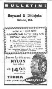 A Hayward and Littlejohn ad that was put into the bulletin to advertise Goodyear tires.