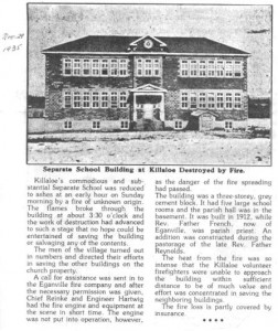 This story from November 29th 1935 describing the destruction by fire of St. Andrew's Separate School.