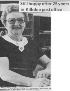 Photo of Laurie Foran after 25 years at the Killaloe Post Office. Pearl Murack Collection.