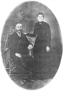 Photo of Martin O'Grady and his wife Catherine Daly. This story and linked photos was written by Brenda Lee-Whiting and published in the Eganville Leader April 2nd, 1975. It is the story of the O'Grady family and Settlement about 9 miles south-west of Killaloe along the Opeongo Line. This is Photo 1, part 17 of 19