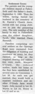 This story and linked photos was written by Brenda Lee-Whiting and published in the Eganville Leader April 2nd, 1975. It is the story of the O'Grady family and Settlement about 9 miles south-west of Killaloe along the Opeongo Line. This is part 6 of 19