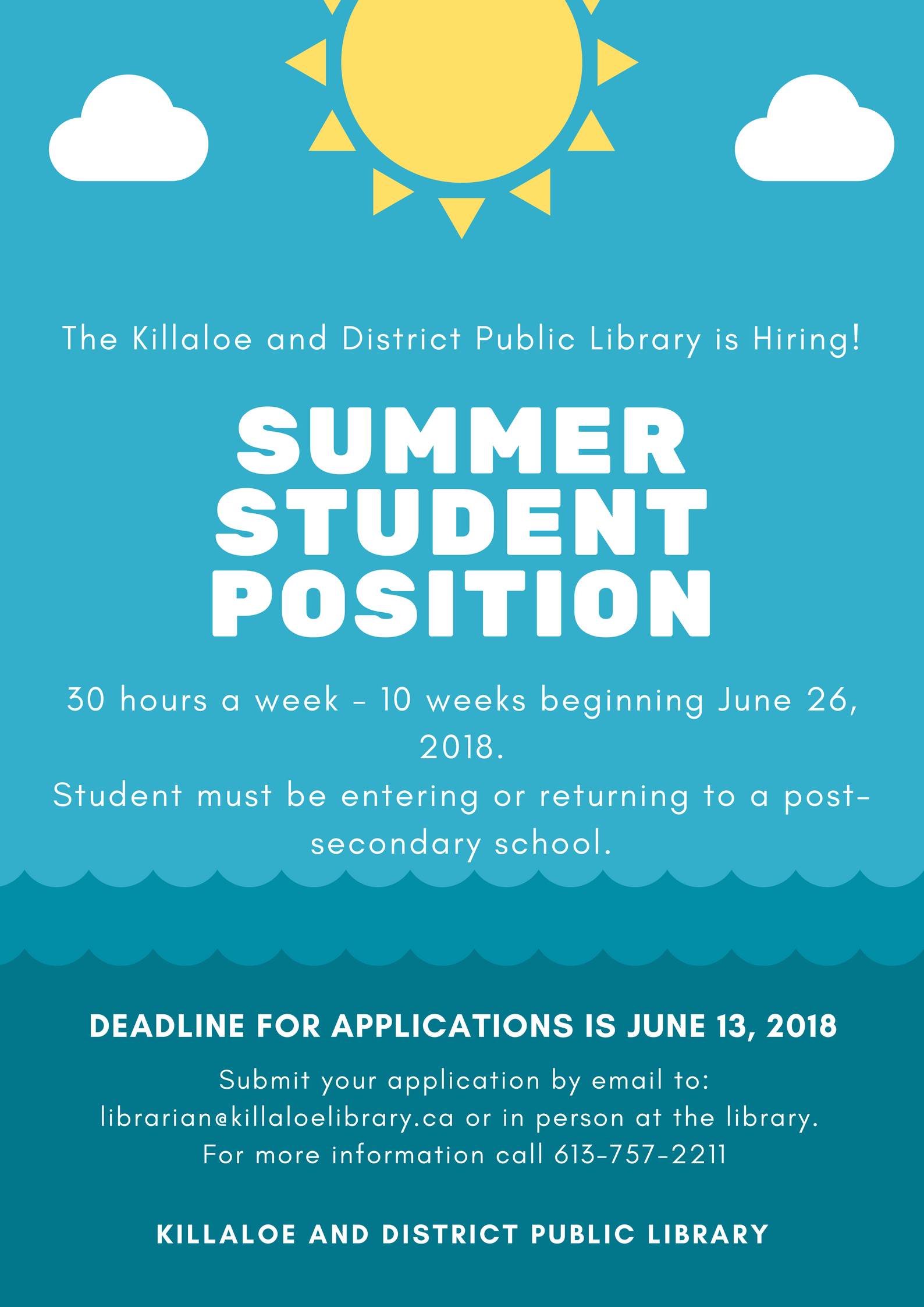 Loans With No Job Required >> We're Hiring! Poster 2018 – Killaloe and District Public Library
