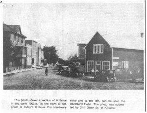 View of Lake Street, downtown Killaloe circa 1930. Betty Mullin Collection