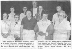 Photo of the Catholic Women's League of St. Andrew's in Killaloe. Betty Mullin Collection.