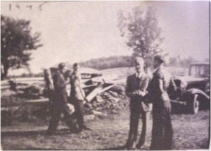 Photo of George Kranz, right facing camera, and friends. Individuals unknown. Private collection.