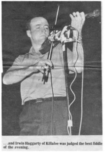 Another photo of Irwin Haggarty and his fiddle. Betty Mullin Collection.