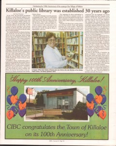 Killaloe Today, published in August of 2008 to commemorate the Town's 100th Birthday. Page 36