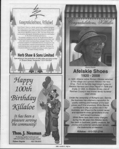 A trip down memory lane, produced by the Eganville Leader to commemorate Killaloe's centennial, in August 2008. Page 30