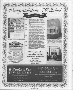 A trip down memory lane, produced by the Eganville Leader to commemorate Killaloe's centennial, in August 2008. Page 32