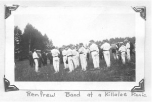 "Church Picnics 1900-1922.At their peak, two to four thousand people arrived in Killaloe for the annual church picnic. Crowds came from Ottawa and points east and west by train; return fare to Ottawa was about one dollar. Others traveled 30 to 40 miles by horse or horse and buggies and wagons.The Renfrew Pipe Band would lead the crowd up to the picnic grounds where food was served from early in the day until late evening. There were soft drinks and ice cream and a sign which read ""Lemonade Served in the Shade"". There were speeches by members of parliament, fiddling and old time dancing contests, baseball games and horse races. Pearl Murack Collection."