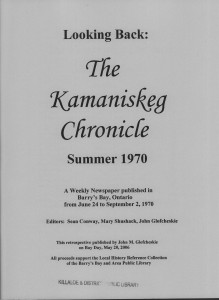 Looking Back: The Kamaniskeg Chronicle from the Summer of 1970 republished  on Bay Day, May 20 2006 by John M. Glofcheskie.