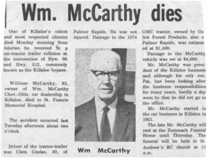 Well known citizen and businessman William McCarthy dies. Betty Mullin Collection.
