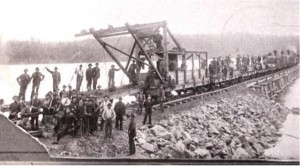 Laying the rails for J. R. Booth's Ottawa, Arnprior, Parry Sound Railway. Private Collection.