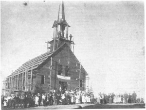 Photo of Old St. Andrew's Church while under construction. Pearl Murack Collection.