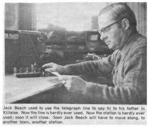 Jack Beach using the telegraph in the old train station. Betty Mullin Collection.