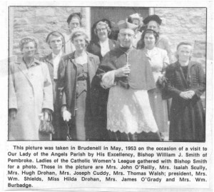 Photo of Brudenell Catholic Women's League and Bishop William J. Smith 1953. Betty Mullin Collection.