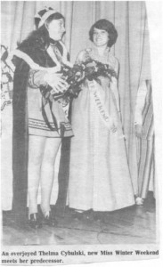 Miss Winter Carnival Thelma Cybulski, Sno Fun Weekend 1971. Betty Mullin Collection.