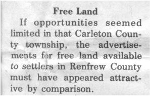 This story and linked photos was written by Brenda Lee-Whiting and published in the Eganville Leader April 2nd, 1975. It is the story of the O'Grady family and Settlement about 9 miles south-west of Killaloe along the Opeongo Line. This is part 2 of 19