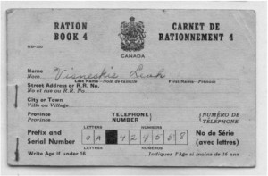 Outside cover of WWII rations book. Pearl Murack Collection.