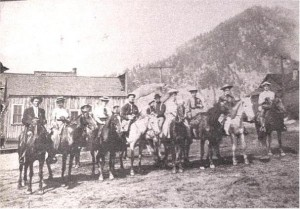 unidentified group on horses, most likely at J.R. booth logging