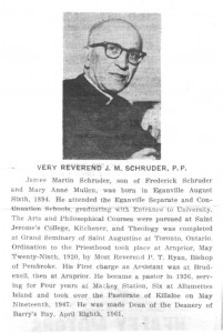 History of St. Andrews Parish as published in the Eganville Leader November 20th, 1961. Part 16 of 18. Betty Mullin Collection.