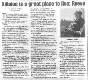 This story was published by Barry's Bay This Week July 1, 1998 as part of a special edition honouring Killaloe's 90th birthday celebration.